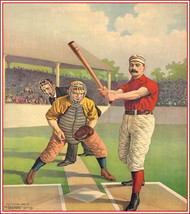 "Vintage Baseball print.  Batter & Catcher, 1898, 11 X 14""  canvas art print - $23.99"