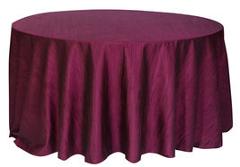 Crinkle Taffeta Eggplant Table Cloth for Round Tables, Tablecloths for W... - $38.99