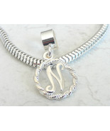 Fancy Script Alphabet Letter N initial Sterling Silver Charm Fits All Slide On E