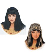 Wig - Cleopatra + Gold Beaded Headpiece Set - Adult Egyption Queen Egypt... - $28.60