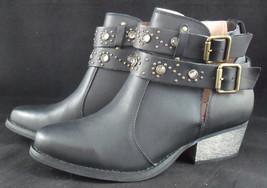 NIB BETSEY JOHNSON Willow Black Leather Rhinestone Boots Sz 8.5 (MAKE AN... - £100.98 GBP