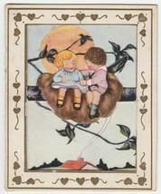 Vintage Valentine Card Girl and Boy in Bird Nest 1920's Die Cut Unusual - $9.89