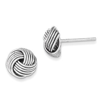 Primary image for Lex & Lu Sterling Silver Polished Twisted Knot Bead Post Earrings LAL17766
