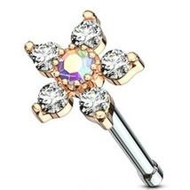 """Nose Bone Ring w/Daisy Flower Aura Clear Gems 6mm Head 20 Gauge 1/4"""" Steel/RG - $6.99"""