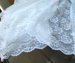 "1 Lovely WHITE Floral Lace Curtain Panel 59"" W x 35"" L  #6476 - $14.99"