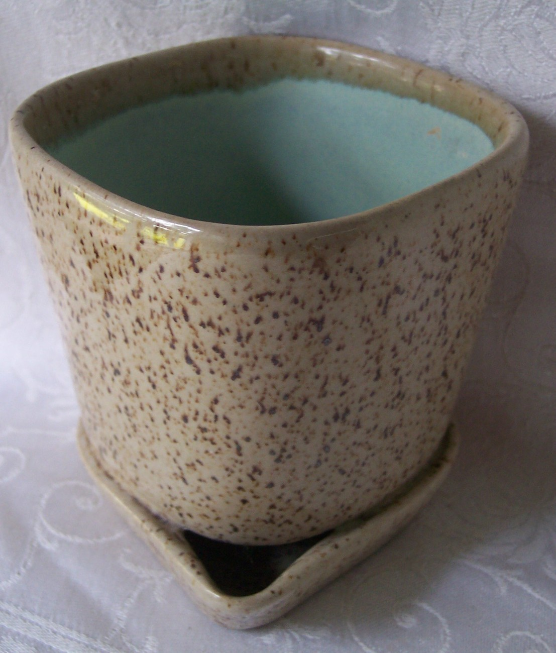 Glidden art pottery planter brown speckled truquoise3