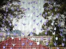 Origami Cranes Garlands Purple, White And Pattern Print Set Of 10 Strings - $50.00