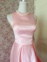 Vintage Blush Pink Taffeta High Low  Prom Dress Blush Sleeveless Wedding Dresses image 2