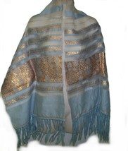 Vtg 50s nylon evening shawl blue with gold embroidery - €20,11 EUR