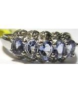 TANZANITE OVAL & DIAMOND 5-STONE BAND RING, PLATINUM / SILVER, SIZE 6, 0... - $53.99