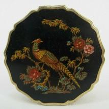 Vintage Beautiful Stratton England black Enamel Compact Pheasant Flowers - $28.04