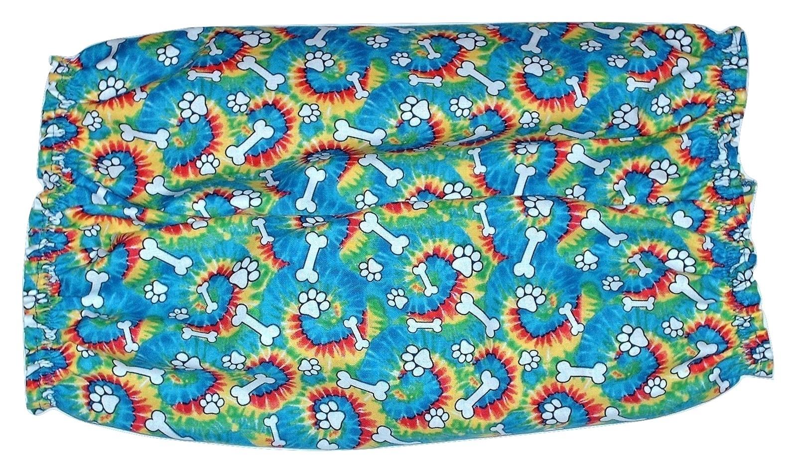 Blue Tie Dye Paw Prints Bones Cotton Dog Snood by Howlin Hounds Size XL
