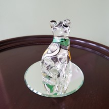 Glass Cat Figurine on mirrored base, painted with yellow green stripes, Kitty image 5