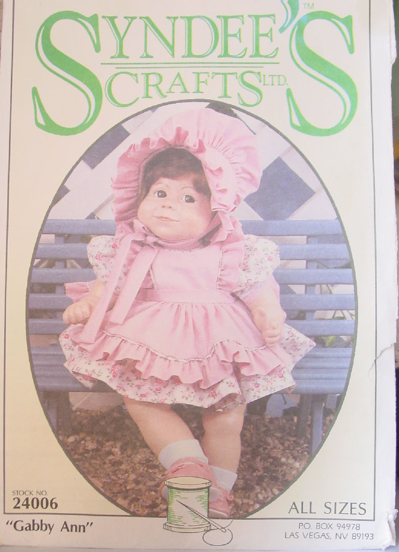 "Pattern 24006 Three Size Doll Clothes ""Gabby Ann"" Syndee's Crafts"