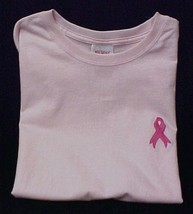 Pink Ribbon T-Shirt Breast Cancer Awareness Small Pink S/S Crew Neck Unisex New - $18.40