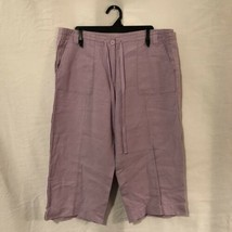 Talbots Womens 14 Capri Pants Purple Irish Linen Drawstring Casual Cropped - $19.98