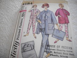 Vintage Misses' Pajamas, Coat & Case Pattern Simplicity 4184 - $10.00