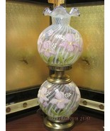 FENTON ART GLASS GONE WITH THE WIND LAMP HAND PAINTED BY MARILYN WAGNER - $425.00