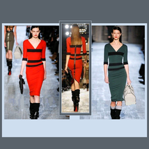 Celebrity Inspired Victoria Beckham Knitted Contrast Back Zipper Pencil Dress