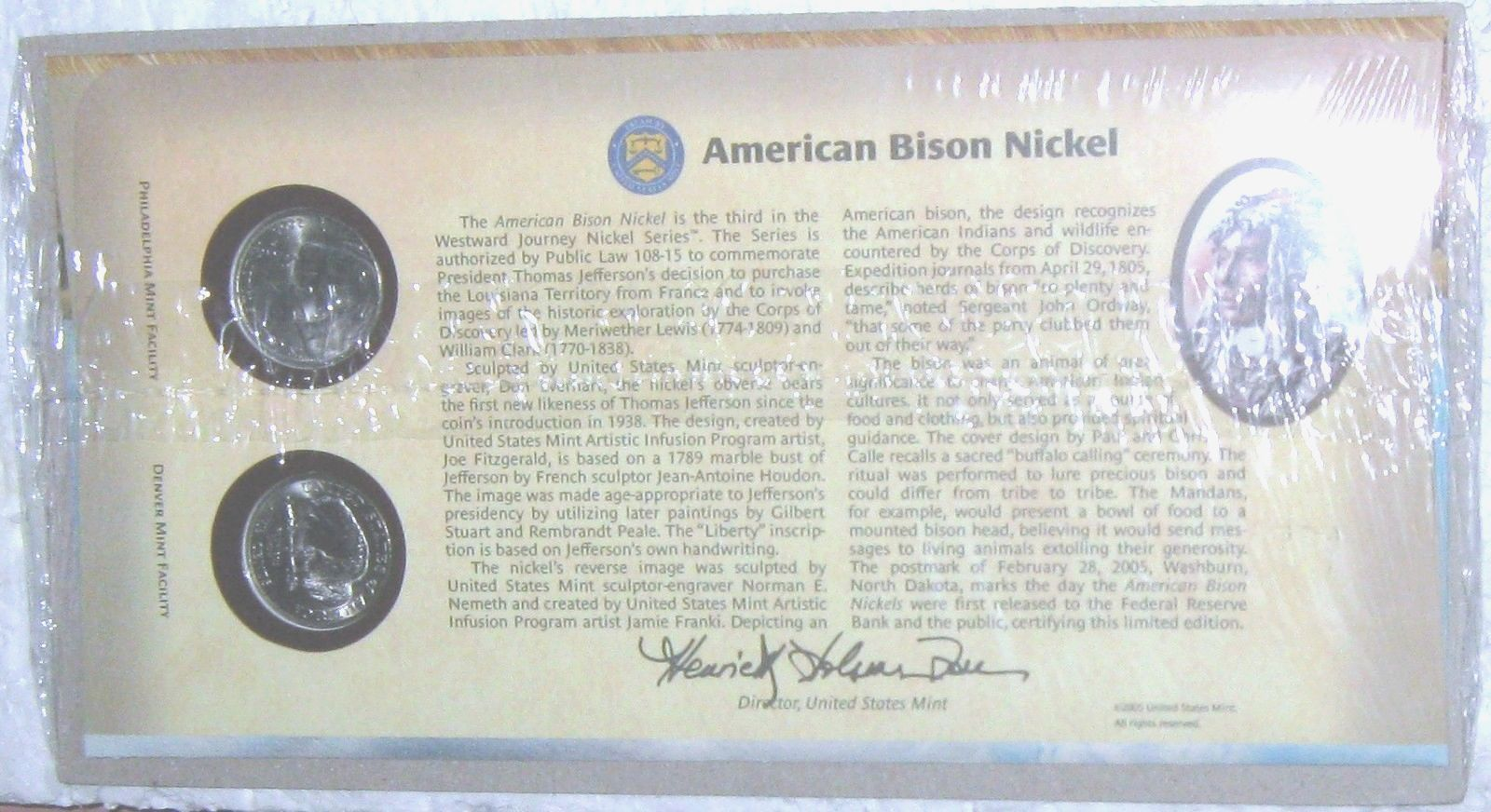 "WESTWARD JOURNEY AMERICAN BISON NICKEL FIRST DAY COVER,  2-PC, ""P"" & ""D"", NEW"