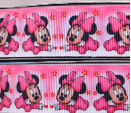 "Primary image for Pink Baby Minnie Mouse Printed Grosgrain Ribbon1""(25 mm)wide/DIY Hair Bow/3Yards"