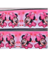 "Pink Baby Minnie Mouse Printed Grosgrain Ribbon1""(25 mm)wide/DIY Hair Bo... - $3.75"