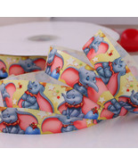 "Cute Jumbo Elephant Printed Grosgrain Ribbon 1""(25 mm)/DIY Hair Bow /5 Y... - $4.95"