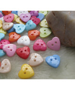 Multicolored Hearts Plastic Two Holes Buttons/Sewing Supplies/DIY Craft ... - $2.85