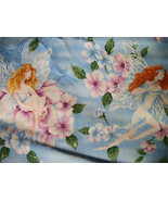 Large Fairies Blue Cotton Fabric/Sewing supplies/Apparel/Suiting/Quilt  ... - $7.00