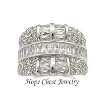 Women's Silver Tone Baguette Cz Wide Band Anniversary Wedding Band Ring Size 6 - $25.64