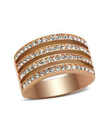 Women's Rose Gold Tone 4 Rows of Crystal Fashion Band Ring - SIZE 5 - $13.94