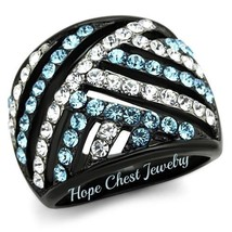 Women's Black Stainless Steel Aquamarine & White Crystal Dome Ring Size 5   10 - $19.34