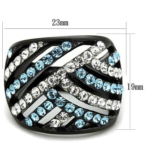 WOMEN'S BLACK STAINLESS STEEL AQUAMARINE & WHITE CRYSTAL DOME RING SIZE 5 - 10