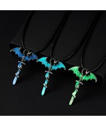 Vintage Glow In The Dark Necklace Sword Dragon Necklaces For Man Metal A... - $10.22