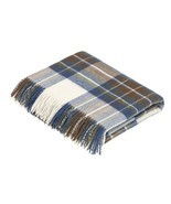 Tartan Plaid-Merino Lambswool Throw Blanket-Muted Blue Stewart Tartan-Ma... - £99.51 GBP