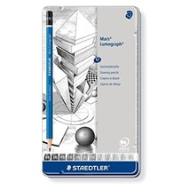 Staedtler mars lumograph tin of 12 drawing pencils (6B to 4H) for design and dra - $26.00