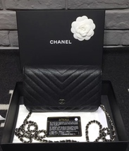 100% AUTH CHANEL Chevron Caviar Leather Black Wallet on Chain WOC Bag