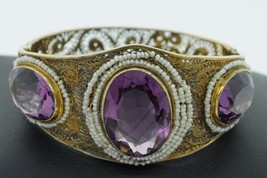 Antique (ca. 1900) 14K Yellow Gold Amethyst and Seed Pearl Bangle Bracelet - $1,850.00