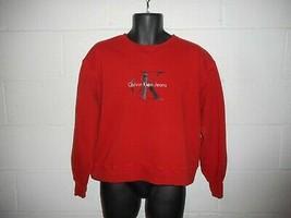 Vintage 90s Red Calvin Klein CK Cropped Sweatshirt L/XL - $39.99