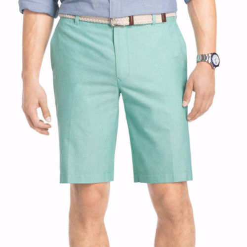 IZOD Men's Shorts Newport Oxford Simply Green Flat Front Size 38 New