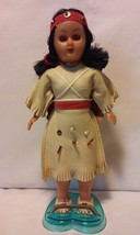 """Vintage 7"""" Native American Doll with Twin Papooses & Stand Made in Hong ... - $14.50"""