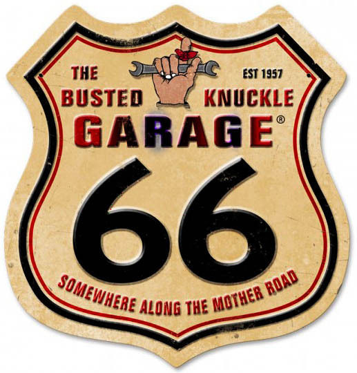 Busted Knuckle Route 66 Shield Laser Cut Metal Sign