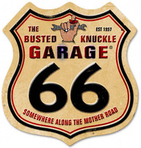 Busted Knuckle Route 66 Shield Laser Cut Metal Sign - $35.00