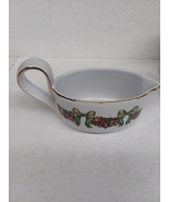 "Vtg Claire Burke Pottery Ceramic Christmas Creamer Bows Red Green 7"" x 3""  - $18.69"