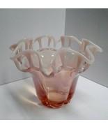 Large Duncan Miller Pink Opalescent Latticed Ruffled Vase - $44.53