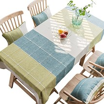 Cotton Stitching Plaid Rectangular Tablecloth for Dining Kitchen Room Ta... - $46.24