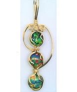 Lab Opal Gold Wire Wrap Pendant 33 - $30.00