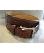 Harold Powell Brown Belt Crocodile Alligator Grain Fine Leather from Ita... - $24.01