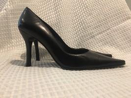 Stuart Weitzman Black Leather Pump Heel Stiletto Dress Shoe Size 8.5 M - $89.99