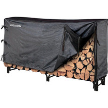 Firewood Storage Rack Cover Black Metal Outdoor Heavy Duty Protect Wood ... - $127.09